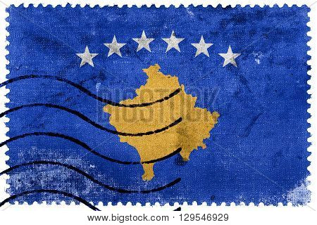 Flag of Kosovo old postage stamp, vintage look poster