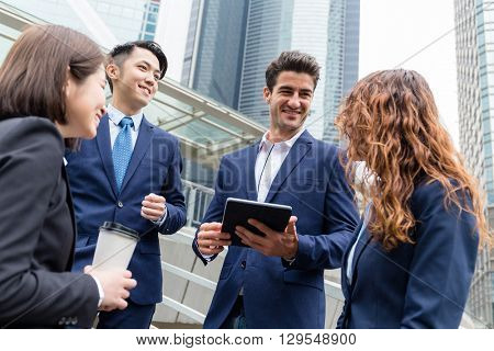 Group of business team chating at outdoor