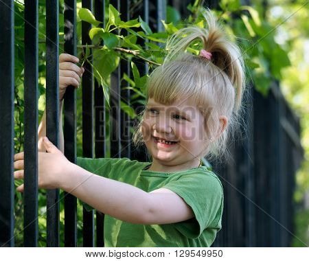 The child climbs on the fence. A small, grubby and happy girl trying to climb a fence. Summer, sun, tree branches with green leaves. baby joy