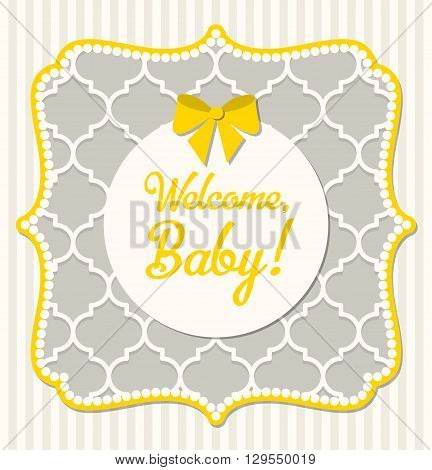 Baby shower in shabby chic style, vector illustration, eps 10 with tranparency