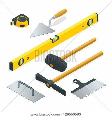 Collection of most common types of masonry tools. Flat 3d isometric vector illustration