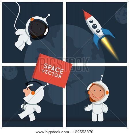 Little funny astronaut in different situations. Flat style vector illustration set for spaceman and spaceship. Spaceman eps. Spaceman ai.