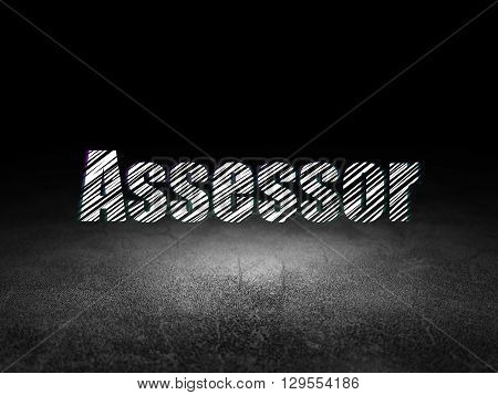 Insurance concept: Glowing text Assessor in grunge dark room with Dirty Floor, black background
