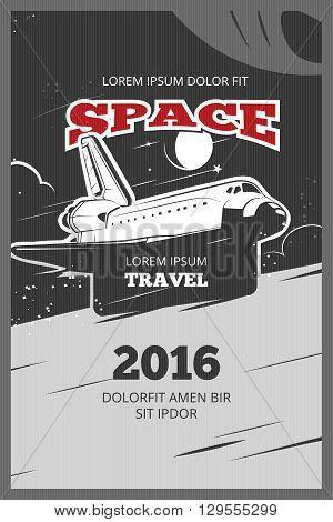 Vintage astronautics vector poster. Astronautic banner space, astronautics  shuttle, astronautics rocket illustration