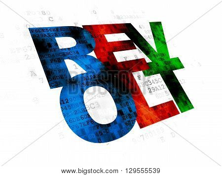 Political concept: Pixelated multicolor text Revolt on Digital background