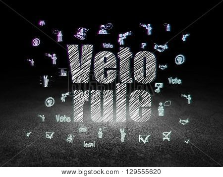 Politics concept: Glowing text Veto Rule,  Hand Drawn Politics Icons in grunge dark room with Dirty Floor, black background