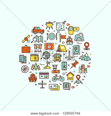 Traveling and transport icons in circle design for web mobile app. Travel transport ship or car,  travel concept collection, travel  bus and bike. Vector illustration