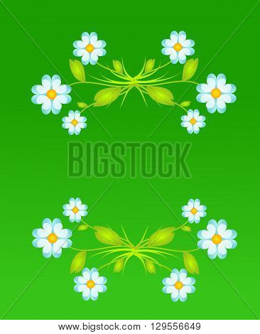 Green background with light blue flower decoration illustration