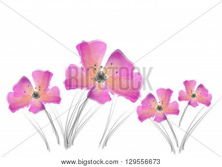 Pink flowers painting in watercolor design illustration