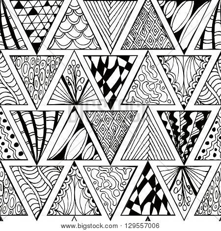 Abstract seamless pattern. Zentagl. Triangles. Doodle. Vector background.