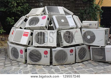 VIENNA AUSTRIA - JULY 12: Climate Changes Project in Wien on JULY 12 2015. Air Conditioners in Igloo Shape Exhibition at Kunst Haus Wien Museum in Vienna Austria.