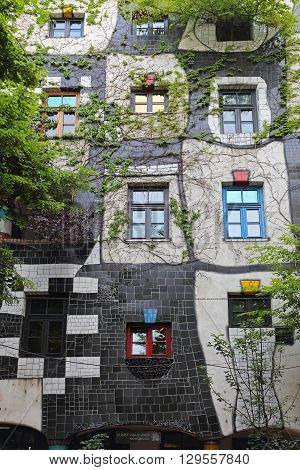 VIENNA AUSTRIA - JULY 12: Kunst Haus Museum in Wien on JULY 12 2015. Famous Building and Museum by Architect Hundertwasser in Vienna Austria.
