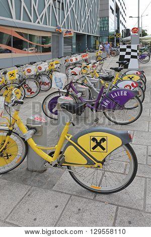 VIENNA AUSTRIA - JULY 12: Bicycle Sharing Service in Wien on JULY 12 2015. Bike Rental for Public Transport Solution in Vienna Austria.