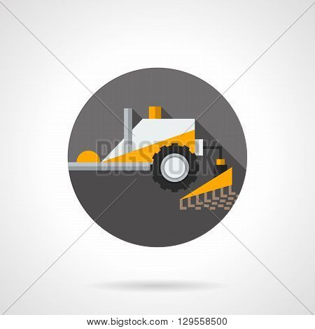 Yellow tractor for tillage. Plowing equipment. Agriculture, farming, agronomy and soil cultivation. Round flat color style vector icon. Web design element for site, mobile and business.
