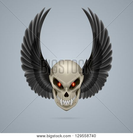 Terrifying mutant skull with long fangs and black wings