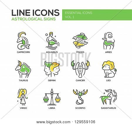 Set of modern vector line design icons and pictograms of 12 zodiac signs. Capricorn, aquarius, pisces, aries, taurus, gemini, cancer, leo, saggitarius, virgo