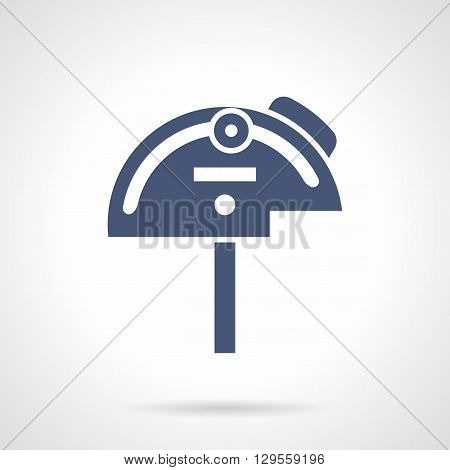 Tools and instruments for measuring angles. Mechanical protractor. Engineering and science, metrology. Symbolic blue glyph style vector icon. Element for web design and mobile.