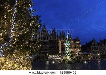 Grote Markt in Antwerp in Belgium during Christmas