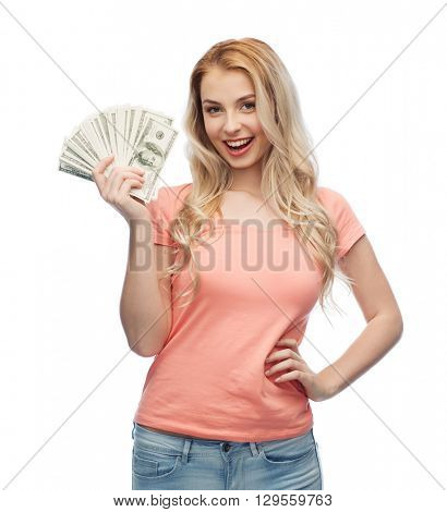 money, finances, investment, saving and people concept - happy young woman with dollar cash money