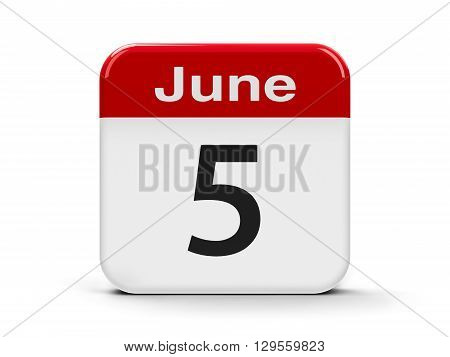 Calendar web button - The Fifth of June - World Environment Day three-dimensional rendering 3D illustration