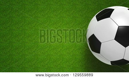 Football ball on grass represents football championship three-dimensional rendering 3D illustration