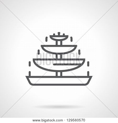Tiered chocolate fountain. Sweet food and decoration, party dessert and romantic celebration. Fondue for party. Simple black line vector icon. Single element for web design, mobile app.
