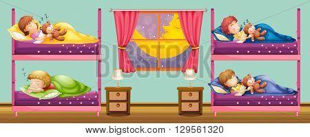Children sleeping in bunkbed illustration