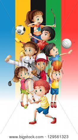 Poster of children doing different sports illustration