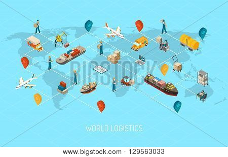 International logistic company worldwide operations with cargo distribution shipment and transportations map isometric poster abstract vector illustration
