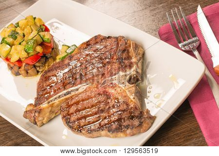T Bone Steak With Vegetables