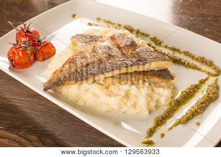 Grilled Trout With Risotto, Tomatoes, And Pesto