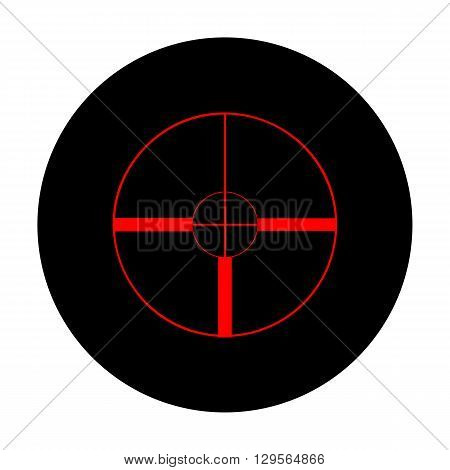 Sight sign. Red vector icon on black flat circle.