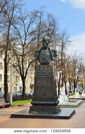 MINSK BELARUS - MAY 2 2016: Felix Dzerzhinsky monument in city boulevard. Dzerzhinsky is best known for establishing and developing the Soviet secret police forces predecessor KGB