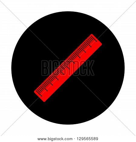 Centimeter ruler sign. Red vector icon on black flat circle.