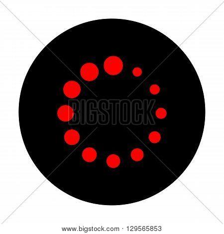Circular loading sign. Red vector icon on black flat circle.