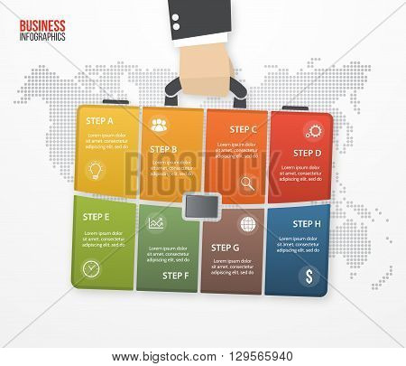 Vector infographic with businessman holding bag briefcase. Business and travel concept with 8 processes options parts steps for graphs charts diagrams presentation website layout.