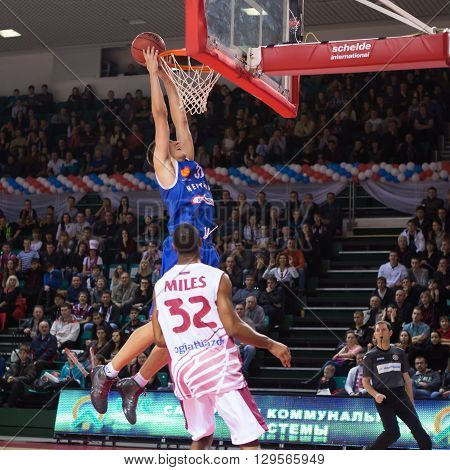 Bc Neptunas Forward Edgaras Ulanovas (31) Makes Two-handed Slam Dunk