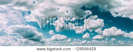 Blue And White Colours Natural Sky Abstract Background. Panorama Panoramic View