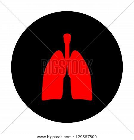 Human organs. Lungs sign. Red vector icon on black flat circle.