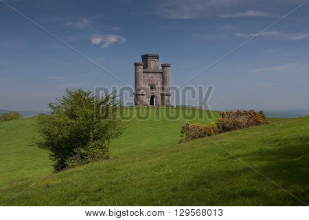 Paxton's Tower Folley Perched on a hilltop near Llanarthney in the Towy Valley, a folly designed by the Samuel Pepys Cockerell and built by Sir William Paxton in honour of Lord Nelson's victory at Waterloo.
