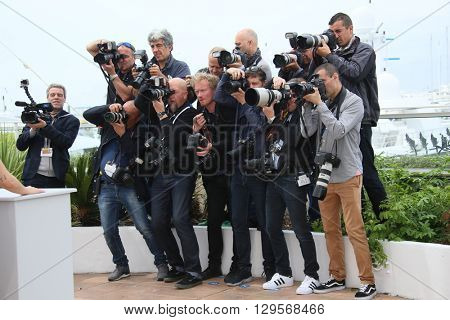 Photographers attends the 'Cafe Society' Photocall during The 69th Annual Cannes Film Festival on May 11, 2016 in Cannes, France.