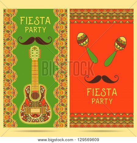 Beautiful greeting card, invitation for fiesta festival. Design concept for Mexican Cinco de Mayo holiday with maracas, guitar and ornate border. Colorful hand drawn vector illustration