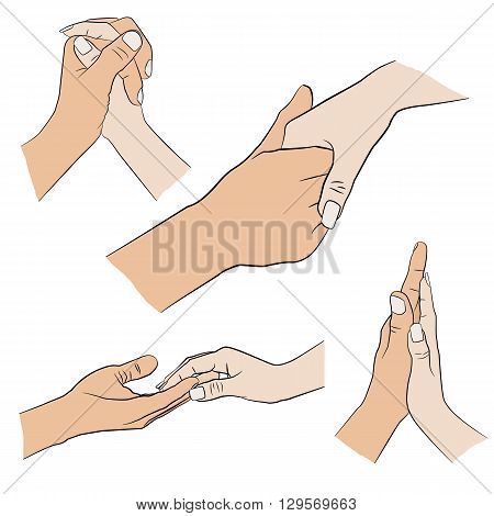 Set of man and woman hand isolated on white background