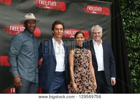 LOS ANGELES - MAY 11:  Mahershala Ali, Matthew McConaughey, Gugu Mbatha-Raw, Gary Ross at the Free State Of Jones Photocall at the Four Seasons Hotel Los Angeles on May 11, 2016 in Los Angeles, CA