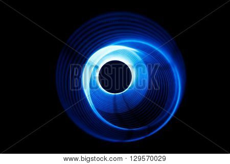 Sound blue waves in tunnel in the dark