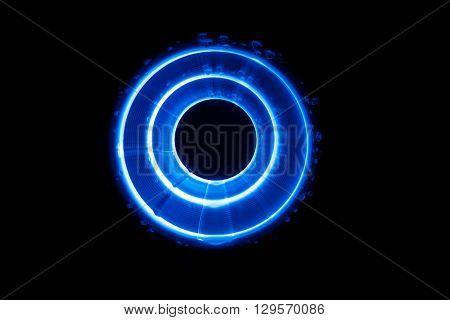 Sound blue waves in tunnel in the dark