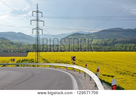 Asphalt route arround the oilseed rape field electric column in background