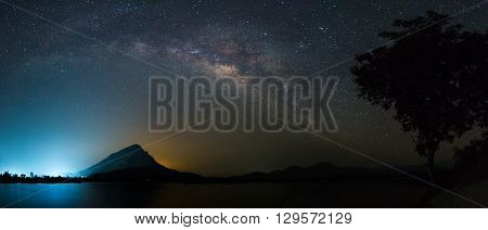 panoramic galaxy above reservoir that city behide