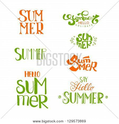 Summer calligraphic designs set. Retro hand drawn elements for summer holidays posters, banners and flyers. Vector logo collection.