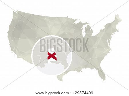 Polygonal Abstract Usa Map With Magnified Alabama State.